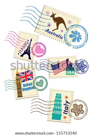 Landmarks stamps set  - stock vector