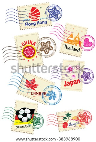 Landmarks stamps set (vector) - stock vector
