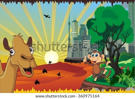 landscape-a vacation in the desert - stock vector