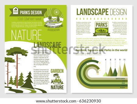 Landscape And Gardening Design Vector Brochure Or Poster For Landscaping  Service Company. Outdoor Urban Gardens