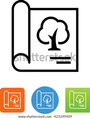 Landscape Architecture Blueprint Icon