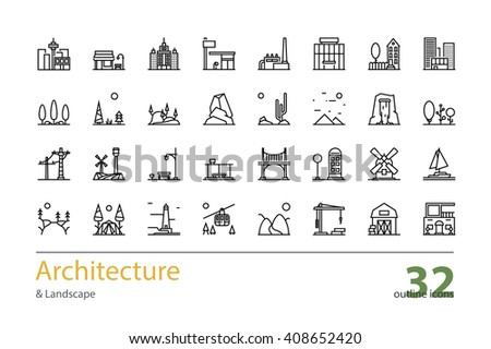 Landscape Architecture Outline Colorless Icons Stock Vector