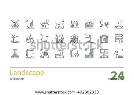 Landscape Architecture Outline Icons Line Art Stock Vector