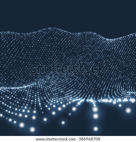 Landscape Background. Futuristic Landscape with Shiny Grid. Low Poly Terrain. 3D Wireframe Terrain. Network Abstract Background. Cyberspace Grid. Technology Vector Illustration of Low-Poly Landscape - stock vector