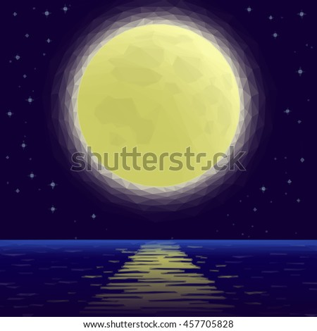 Landscape Background, Night Sea and Dark Blue Sky with Stars and Big Bright Moon. Low Poly Illustration. Vector