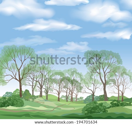 Landscape background. Summer trees. Green forest and blue sky with clouds. - stock vector