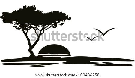Landscape Birds - stock vector