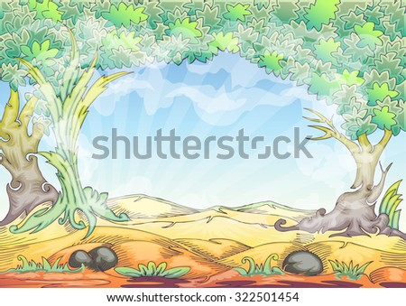 Landscape cartoon hand draw illustration with trees, grass and bright sky background based on ink on paper outline - stock vector