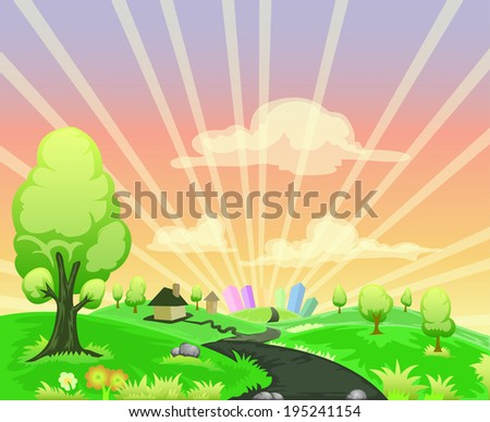landscape cartoon illustration with city and bright sky background