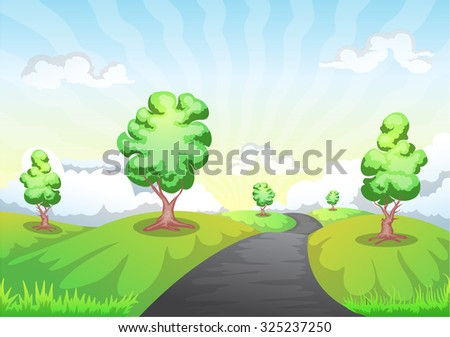 landscape cartoon with mountain, trees, and road to the horizon - stock vector