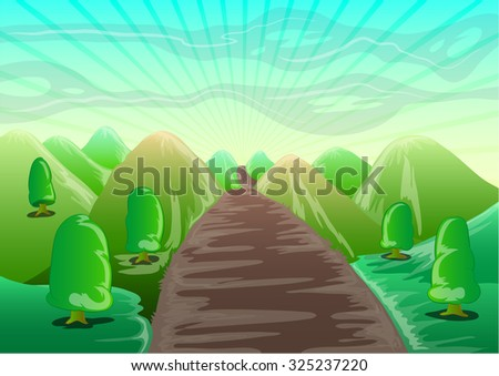 landscape cartoon with mountain, trees, and straight road to the horizon - stock vector