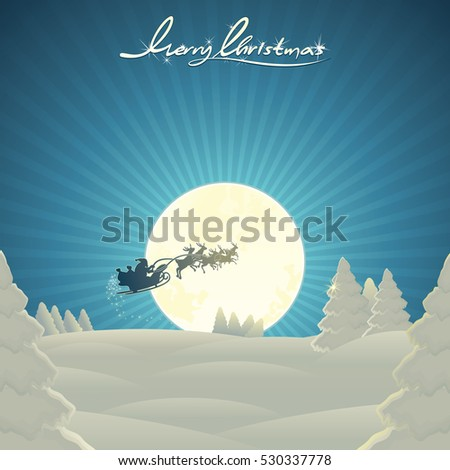 Landscape Christmas Scene with Santa Sleigh. Santa Claus Fly