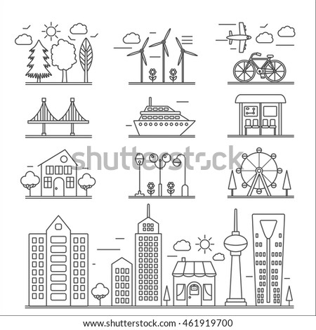 Landscape city buildings thin line ourline linear design icons elements set. Graphic design city constructor