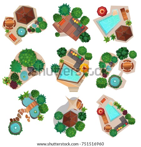 Landscape Compositions Top View Set With Pond Or Pool, Trees And Shrubs, Garden  Furniture