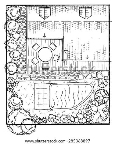 Garden Blueprint Stock Images Royalty Free Vectors