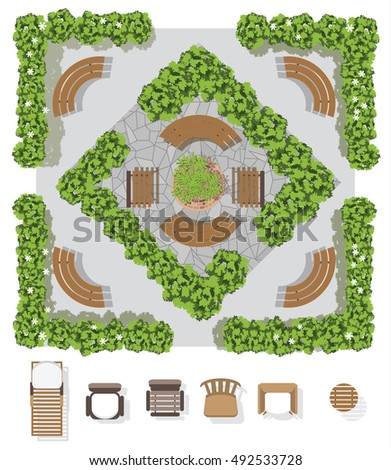 Garden Furniture Top View collection landscapetree top view stone floor stock vector