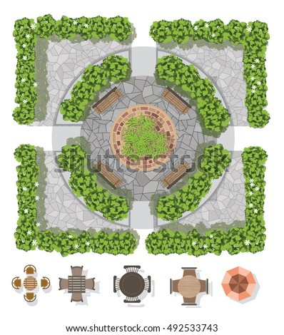 landscape design composition with top view gardening and furniture for the gardenvector illustration