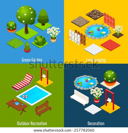 Landscape design concept set with green garden outdoor recreation and decoration isometric icons isolated vector illustration - stock vector
