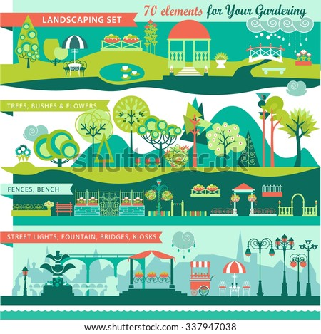 Landscape Design Constructor. City, Parks and Gardens Decoration Elements and Flora Vector Set. Fences, Lightning, Trees, Pavilions, Bridges, Yards, Gardens in Flat Vector set With 70 Objects. - stock vector