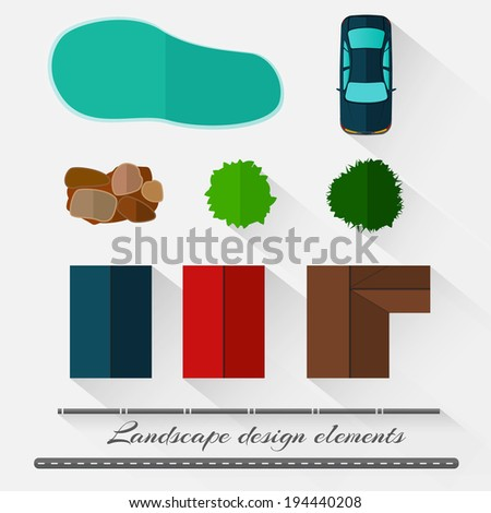 Landscape design elements in a minimalist style with shadows - stock vector
