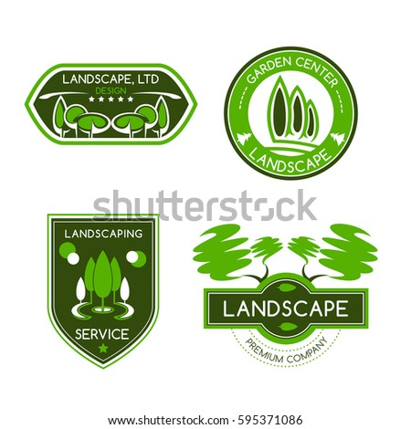 Landscape Design Label Set Landscaping And Gardening Services Badges With Green Trees Leaves