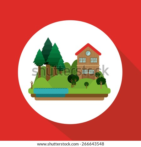 Landscape design over red background, vector illustration - stock vector