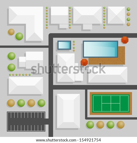 landscape design top view with swimming pool and tennis court - stock vector