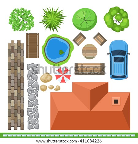 Landscape elements project design top view stock vector for Landscape design icons