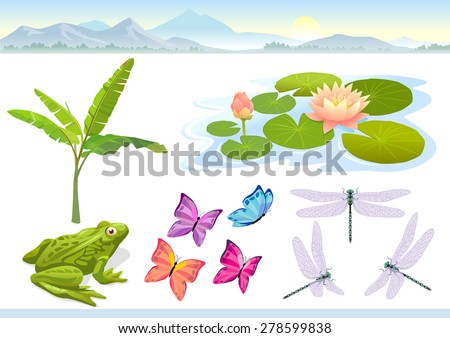 Landscape elements for your illustration - stock vector
