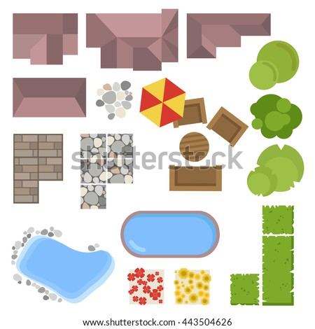 Landscape elements top view house garden stock vector for Pool design elements