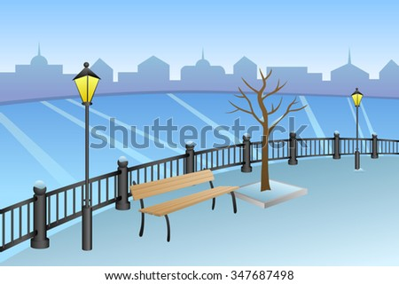 Landscape embankment city winter day river bench lamp illustration vector - stock vector