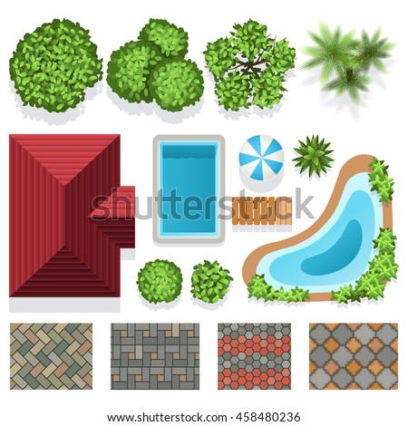 landscape garden design. Landscape garden design vector elements for structure plan  Architectural landscape illustration with green plants Garden Design Vector Elements Structure Stock
