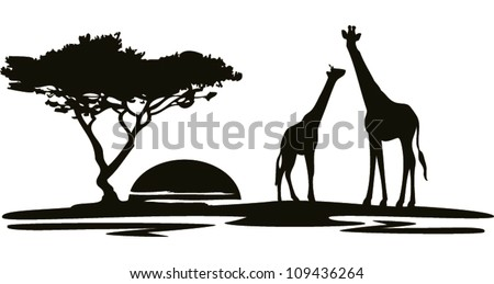 landscape giraffe - stock vector