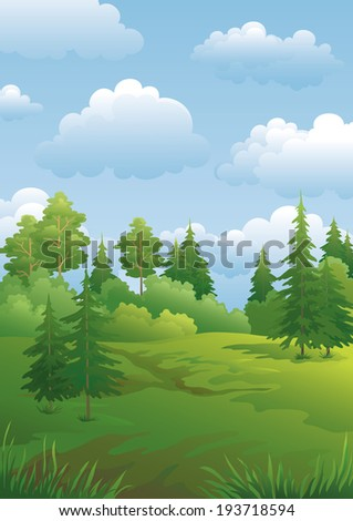 Landscape, green summer forest with fir and pine trees and cloudy sky. Vector - stock vector