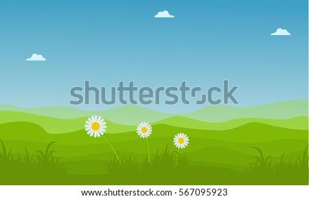 Landscape Hill At Spring Backgrounds Vector Art