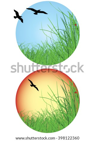 landscape icon with birds flying and shaped in circle  - stock vector