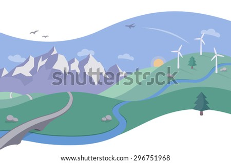Landscape Illustration with Mountain Range and Wind Farm - A simple and beautiful scene in a clean and flat style. Rolling hills, a mountain range and windmills (a wind farm) on the hillside. - stock vector