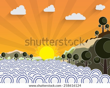Landscape illustration with sea and sun - stock vector