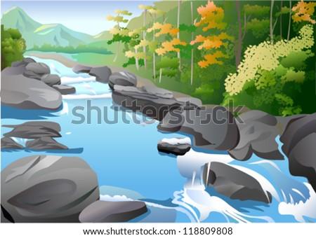Landscape in autumn - stock vector