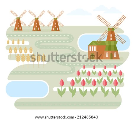 Landscape In Holland. Vector illustration with windmills and road between lakes and fields with wheat and tulips. Classic Dutch landscape. Traveling theme series. Map elements. Flat style. - stock vector