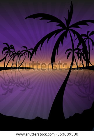 Landscape island paradise with palm trees and sunset on the background of the sea.vector illustration eps10