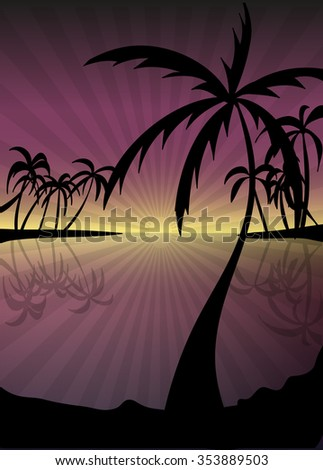 Landscape island paradise with palm trees and sunset on the background of the sea.vector illustration eps10.