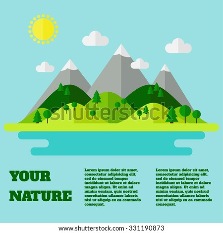 Landscape. Isolated nature landscape with mountains, hills. river and trees on background. Summer landscape. Landscape background with text sample. Flat style vector illustration.