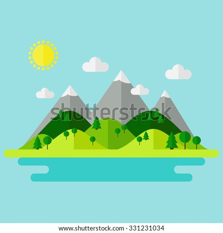 Landscape. Isolated nature landscape with mountains, hills. river and trees on background. Summer landscape. Flat style vector illustration.