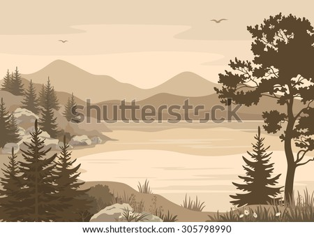 Landscape, Lake, Mountains with Trees, Flowers and Grass, Birds in the Sky Silhouettes. Vector