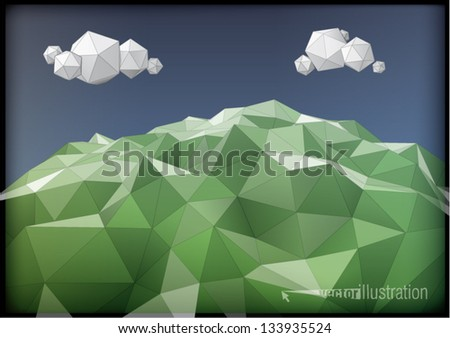 landscape low-poly style illustration - stock vector