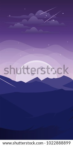 Landscape Mountain At Night Fantasy Wallpaper Smartphone Background Android Iphone