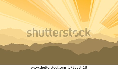 Landscape. Mountains, ascending or a sitting down sun - stock vector