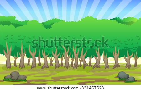 landscape of forest cartoon illustration with bright sky background illustration - stock vector