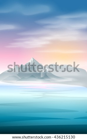 Landscape of mountains and sea